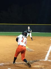 Lely's Sivan Palacios rips a run-scoring single during the third-inning of a 17-2 victory over Cape Coral-Oasis on Thursday. Palacios is hitting .619 with a team-leading 17 runs scored this year.