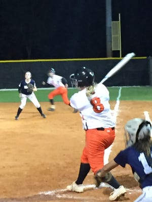 Lely's Savannah Weiben connects for a three-run double in the second inning of a 17-2 victory over Cape Coral-Oasis on Thursday. Weiben is hitting a team-leading .680 with 18 RBIs in just eight games.