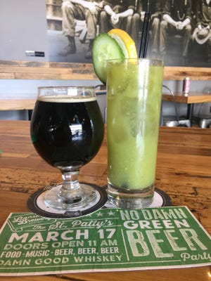 Pog Mo Thoin, a dry Irish stout, and cocktail Tomitillooo Oh Mary — a special beverage that is Lansing Brewing Co.'s approach to the Irish Bloody Mary.