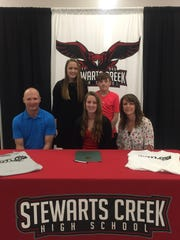 Stewarts Creek soccer standout Paige Loveless recently signed to play at Motlow State Community College. Pictured in the front row (l-r) are Brian Loveless (father), Paige Loveless and Susan Loveless (mother). In the back row (l-r) are siblings Morgan and Mason Loveless.