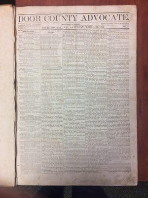 The first edition of the Door County Advocate, from March 22, 1862.