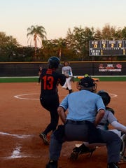 Lely's Katie Moss rips a two-run double in the first