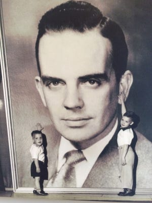 A young Bob Clement, left, next to a photo of his dad who was governor of Tennessee and raised in Dickson.