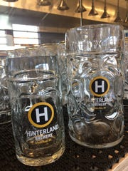 Most beer will be served in two sizes at Hinterland, half liter (left) and full liter.
