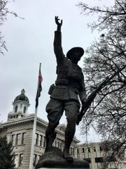 A World War I memorial at the Missoula County Courthouse was erected by American Legion Auxiliary members.