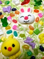 Decorate with jelly beans, Peeps, gummy bunnies, M&Ms, Speckled Easter eggs, candy eggs, Easter candy corn, Cadbury mini candy eggs or your favorite Easter candy.