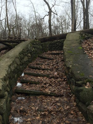 "A view of an abandoned staircase on the Milwaukee County Grounds that is located in a section that has become known as ""Asylum Woods"" or ""Sanctuary Woods."""