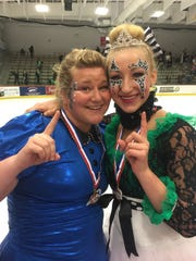 Amanda and Jacque Goetz of Highland Township will skate together for the first time in competition on Harmony Theater Company's adult team during the Nations' Cup.