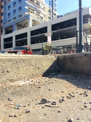 Bits of white polystyrene debris have littered downtown