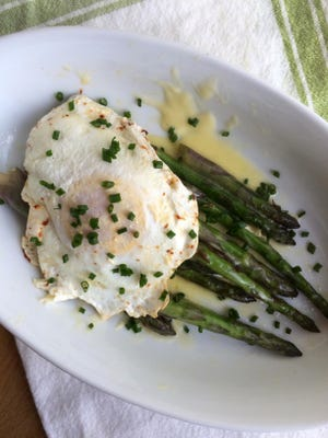 Asparagus for One with Camembert and Egg will hold you from lunch to dinner.