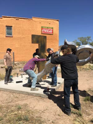 A new sculpture was erected in Carrizozo April 15 near Heart of the Raven Gallery on 12th Street.