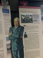 A lifesize cutout of former Detroit Mayor Coleman Young
