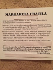 Mayoral candidate Margareta Fratila sent a revised and redacted version of her resume to the Caller-Times early Thursday morning.