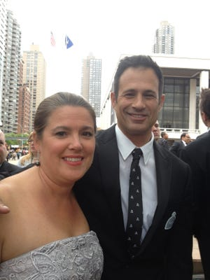 Mariah and Sam Calagione of Milton's Dogfish Head Brewery wait to walk the red carpet at the 2012 James Beard Foundation Awards at New York's Lincoln Center.