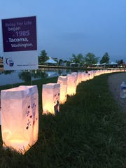 Luminaria during Relay for Life allow participants to honor those who have died.