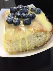 Lemon blueberry cake from Kue'd Smokehouse in Waukee.