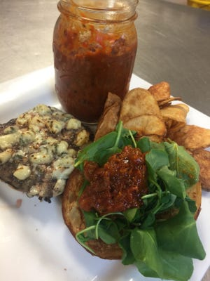 Chef Shawn Calley says homemade tomato jam makes blue cheese burgers even better.