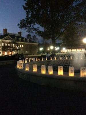 Luminaries are show placed around Patte Plaza at Arkansas State University-Mountain.