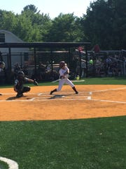 Verona senior Kaitlyn Deo prepares to swing at a pitch against Hopatcong.