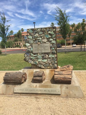 This memorial to Arizona Confederate troops is located at Wesley Bolin Memorial Plaza in Phoenix.