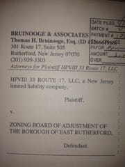 A property owner is suing the East Rutherford Zoning Board of Adjustment.