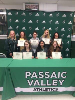 Passaic Valley field hockey: top row (from left) coach Lori Demsey, Alyssa Landi, Natalya Stahl, Jennifer Sabbak, Ariana Sediq; seated (from left) Yelena Stuherck, Ruba Mashal and Ashley Lawson.