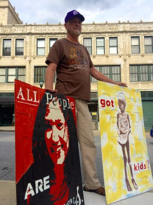 Downtown Asheville resident David Compton says he's been asked to leave sidewalks around the Grove Arcade while displaying his art, which he thinks violates his right to free speech and access to city-owned sidewalks.