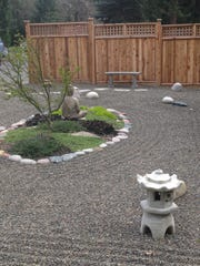 The elements of a Zen Garden can include sitting areas for reflection, pagodas, Buddha statues, rock and plants.