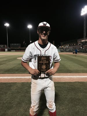 Tulare Western's Wyatt Gilbert was named the most valuable player of the 57th annual Exeter Lions Club East/West All-Star Baseball Game on Wednesday at Recreation Park. Gilbert helped lead the East team to a 4-2 win over the West.