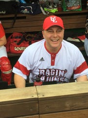Steve Scalise is seen in the dugout at last year's