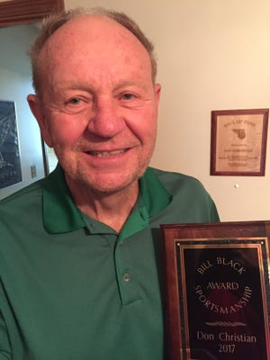 Former Granville and Newark Catholic boys basketball coach Don Christian was honored with the Bill Black Sportsmanship Award at Mill Creek Golf Club.