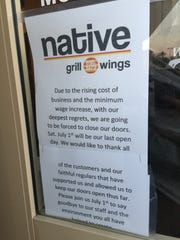 A sign posted at Native Grill & Wings on Alma School