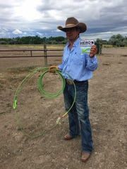 Pendroy rancher Ben Collins shows a new breakaway roping honda he developed with a partner.