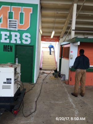 Renovations at Bragg Memorial Stadium are underway as of July 5, 2017.