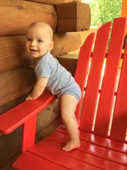 Victoria Freile's 10-month-old son Joe pulls himself