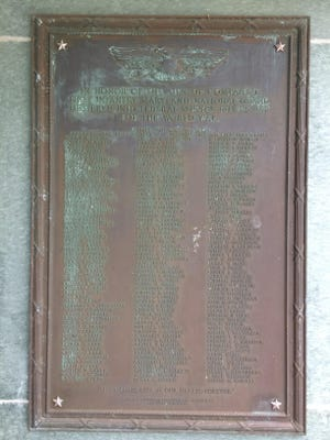 This plaque listing the names of the members of Salisbury National Guard Company I who served in World War I, is on display in the Salisbury National Guard Armory on Route 50 west.
