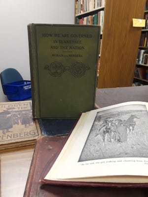 These antique books were found at the Cheatham County Public Library.