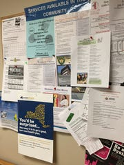 A bulletin board alerts visitors to health care services