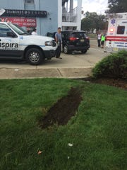 The driver of a Toyota RAV reportedly collided with a vehicle before his vehicle jumped a curb and crashed into a parked car at Landis Avenue and Main Road on Tuesday.