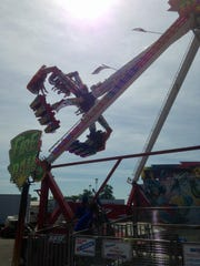 The Fire Ball ride at the Ohio State Fair, shown Wednesday morning. One man died later Wednesday and seven people were injured after an accident with this ride.