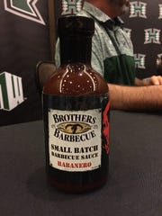 One of the bottles of Brothers Barbecue that Jay Norvell brought to Las Vegas.