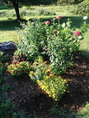 A 5-foot-diameter bed with a variety of native and a few non-native plants — butterfly milkweed, blazing star, bidens, bee balm, coneflowers, blanket flower, butterfly bush and zinnias.