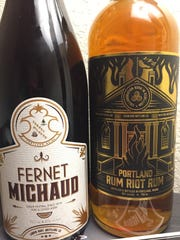 Spirits distilled in Maine are available at Liquid Riot Bottling Company in Portland, Maine, including Fernet Michaud and Portland Rum Riot Rum.