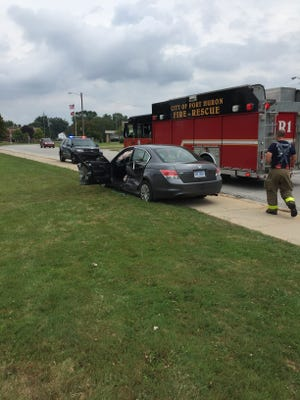 One person was transported to a hospital following a crash on Court Street Friday afternoon.