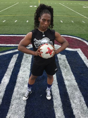 Former University of Detroit Mercy women's soccer player Nathalee Thompson, who played for the Titans from 1995-97, became a professional body builder in 2014 and has competed in international events in Chicago, Tampa Bay and Toronto. Thompson returned to Detroit Mercy for Saturday's alumni soccer game.