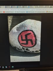 This rock, pictured here in a Facebook post, was reported to Highlands Police.