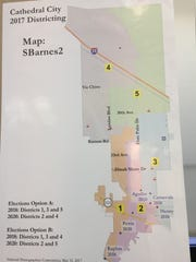 This map, created by planning commissioner Stan Barnes, was one of the final three maps being considered by the Cathedral City Council.