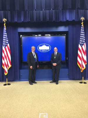 Crawford County Commissioners Mo Ressallat, left, and Doug Weisenauer, visited the White House on Tuesday.