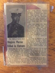 A newspaper clipping from 1969 tells of the death in Vietnam of Pfc. Michael Lewis Dorn, 19. Dorn was the son of Emma Virginia Douglas of Withams, Virginia, who celebrates her 100th birthday on Sept. 14, 2017.