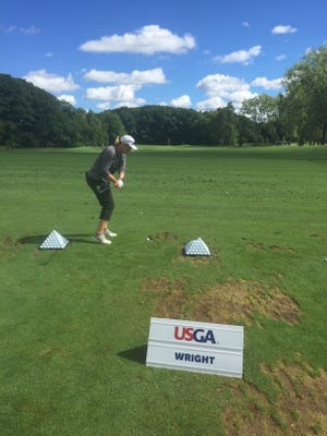 Oxnard resident Sherry Wright has qualified for the U.S. Women's Mid-Amateur Championship three times. She warms up at the 2016 tournament at The Kahkwa Club in Pennsylvania.